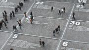 地面に書かれたカレンダー上で分かれる人々