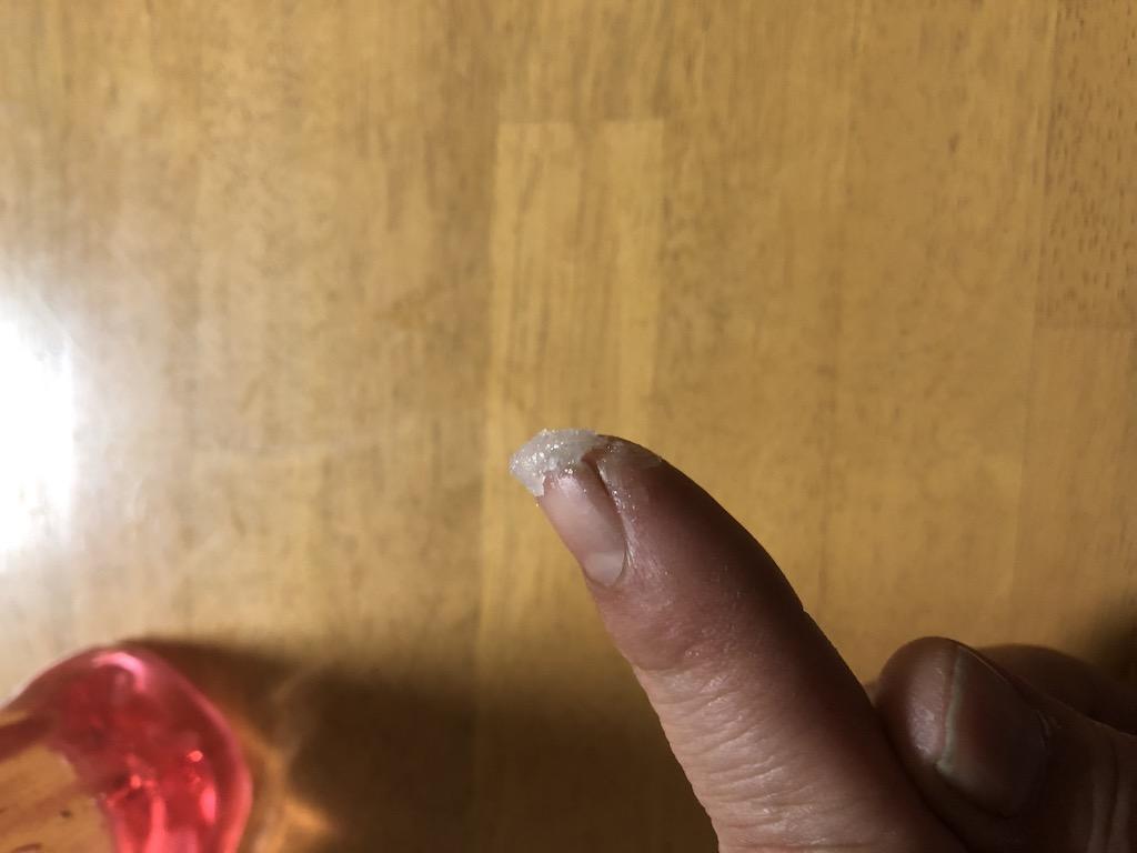 ゲル化した台所用洗剤を拭った写真